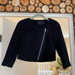 BCBG black zip crop/zip cuff bomber/jacket